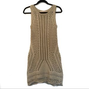 [ZARA] Crochet knit crew neck midi dress M